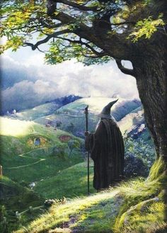 Gandalf looking down on Bag End.