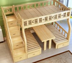 Made To Order Convertible Moon & Stars Bunk Bed With Seating/Table £995.00 This modern bunk bed is a very clever design boosting 1 x single & 1 x small double (mattresses not included) What is very clever, is the table at the bottom can be pulled up, as shown, creating a lovely seating option, and then pushed back down to again become a bed Also provides storage with drawers at the bottom and drawers in the stairs We require approx 6 weeks to make this due to exceptional demand Delivered and…
