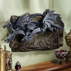 Basil Street Gallery CL3795 Morgoth Castle Dragons Wall Sculpture