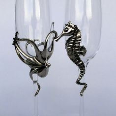 Hand Sculpted Octopus Champagne Glasses - 11 Main