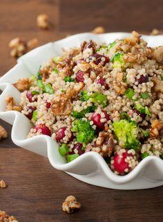 cranberry-quinoa-salad-candied-walnuts-broccoli-recipe-600-0105.jpg 600×814 pixels Qinuoa Recipes, Salad Recipes, Healthy Recipes, Cooking Recipes, Broccoli Recipes, Favorite Holiday, Salad Dressing, Dressing Recipe, Homemade Dressing