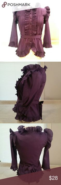 Gorgeous Ruffled Purple Blouse Sheere, purple, crystal button front, ruffeled blouse, may be worn with or without its tie back belt as it is fitted as seen.in pic #4.  90/10 cotton/spandex blend is sheer but not see through, soft and cool for summer months, can dress up jeans or wear with a skirt.  Spectacular statement piece in great condition.  Is a true purple, pictures look more wine colored then actual item, first picture closest. Gioia Fashion Tops Blouses