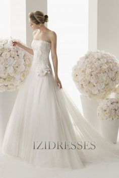 A-Line/Princess Strapless Court Train Tulle wedding dresses - IZIDRESSES.com at IZIDRESSES.com