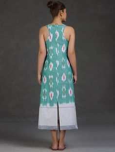 Buy Sea Green-White Racer Back Ikat Cotton Dress Online at Jaypore.com