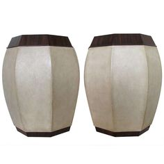 View this item and discover similar for sale at - A pair of large hexagonal tabouret tables in the French Art Deco style of Andre Groult. Vellum colored faux shagreen leather with macassar ebony wood tops Custom Furniture, Table Furniture, Contemporary Furniture, New Chinese, Chinese Style, Ottoman Stool, Chinese Furniture, Modern Side Table, Art Deco Fashion