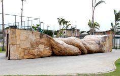 Henrique Oliveira: Cascasa (Shellshelter)| 2012 | Projeto OIR, Parque da Madureira, Rio de Janeiro, Brazil plywood | 2,1 x 2,1 x 13m