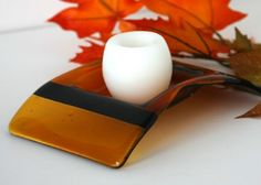 Warm shades of Amber and brown fused glass perfect for Autumn or any time of year. This candle holder will be the center of attention where ever you use it. Use this dish on a coffee table, entry tabl
