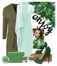 """Green"" by the-luxurious-glam ❤ liked on Polyvore featuring WearAll, Cushnie Et Ochs, Valextra, Christian Louboutin and Christian Dior"