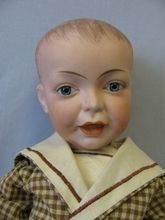 """20"""" Early Doll c1910 SFBJ #226 Smiling Character Boy Painted Hair & Glass Eyes"""