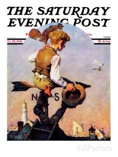 """On Top of the World"" Saturday Evening Post Cover, October 20,1934 Giclee Print by Norman Rockwell at AllPosters.com"