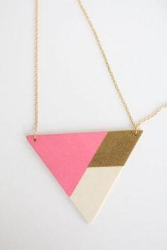 Geometric Wood Necklace #DIY #jewelry