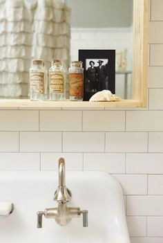 Suzie: Russet and Empire Interiors - Amazing vintage bathroom design with Kohler Brockway . - My-House-My-Home Bathroom Renos, Laundry In Bathroom, Bathroom Ideas, Small Bathroom, Bathroom Vintage, Washroom, Bath Ideas, Kohler Brockway Sink, Ikea Mirror