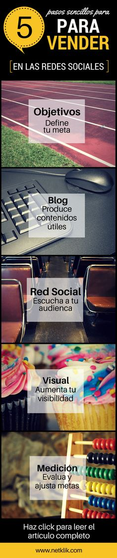 Hola: Una infografía con5 pasos para vender en Redes Sociales. Un saludo Cortesía de: Netklik