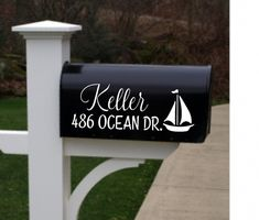 Sailboat Mailbox Personalized Address Vinyl decals front porch beach lakehouse home  wall decal  stickers decor dining room  numbers dec by itswritteninvinyl on Etsy