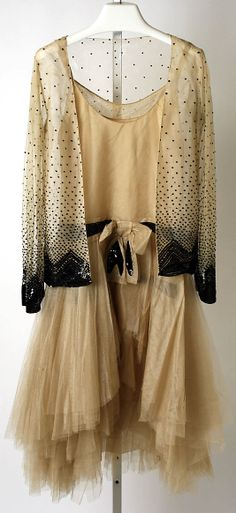 Hattie Carnegie (attributed to Norman Norell) silk and metal ensemble 1928
