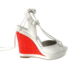 Balenciaga Shoe White Leather Ankle Tie Rafia Coral Wedge 7 New (8.315 ARS) ❤ liked on Polyvore featuring shoes, scarpe, accessories, ankle strap wedge shoes, wedge heel shoes, white platform shoes, wedge shoes and leather platform shoes