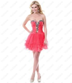 Coral Colorful Festivities Prom Dres