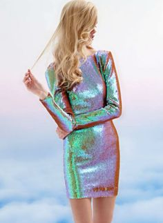 Dress the Population Iridescent Sequin Dress