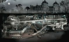 Wayne Manor and Batcave Batman Batcave, Batman Arkham, Batman Art, Batman Robin, Nightwing, Gotham City, Underground Shelter, Underground Garage, Wayne Manor