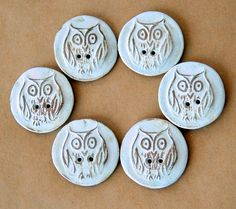 6 Handmade Stoneware Buttons  Owl Buttons by beadfreaky on Etsy, $12.00, these would be lovely on a sweater.