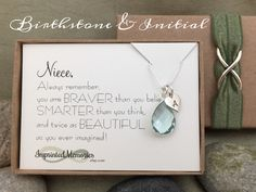 Gifts for Niece Jewelry - Sterling Silver Birthstone Necklace - Initial Necklace - Niece necklace - Niece Birthday Gift School Graduation by ImprintedMemories on Etsy