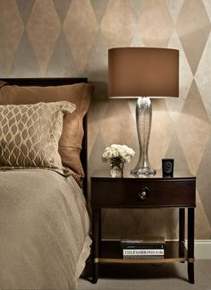 Mix some metallics into a pattern to create an eye-catching accent wall. Why not try it out with Crescent Bronze metallic paints?