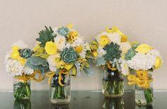 Bouquet mariee jaune et vert succulentes
