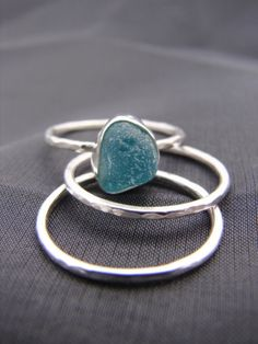 seaglass stacking rings $84