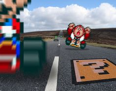 Game sprites from Super Mario Kart mixed into a realistic setting Retro Race 'Mario Kart' Retro Video Games, Video Game Art, Sprites, Top Photos, Super Mario Kart, Gamers, Life Pictures, Life Pics, Video Game Characters