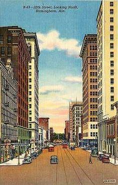 Birmingham Alabama AL 1942 Downtown 20th Street North Antique Vintage Postcard