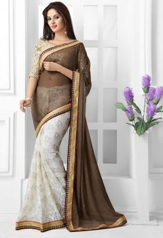 Complement Coffee Brasso Half N Half Saree