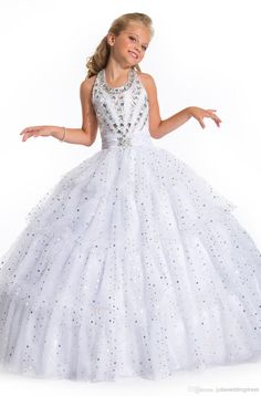 Wholesale Girls Pageant Dress - Buy New Arrival White Formal Girls Dress for Wedding Party Pageant Gown Crystal Beading Long Flower Girl Dress Kids Pageant Dress for Girls, $109.65   DHgate