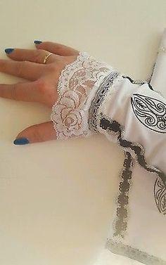 Armstulpen weiß gothic selbstgenäht