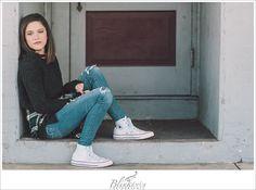 Stunning tween pose in downtown doorway in North Carolina. Teen Photo Shoots, Girl Photo Poses, Picture Poses, Girl Poses, Downtown Photography, Eye Photography, Children Photography, White Converse, Tween Girls
