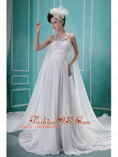 Beaded Decorate Straps and Bust Ruch Watteau Train Brush Train White Chiffon Wedding Dress For 2013- http://www.fashionos.com  http://www.facebook.com/fashionos.us  If you have a flair for the dramatic and are not afraid to be noticed, don't hesitate to take action! This unparalleled prom dress is made of two fabric in the back with dazzling beadings on the straps and neckline and high ruched waist skirt with loose fit falling from bodice creating a gorgeous effect.