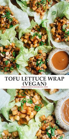 Try out this vegan meal that takes crunchy, crispy bite-sized pieces of fried tofu wrapped in lettuce with plenty of other textural elements that have all the flavor without any meat! {Vegan, Gluten-Free Adaptable} Asian Appetizers, Recipes Appetizers And Snacks, Healthy Appetizers, Healthy Dinner Recipes, Vegetarian Recipes, Vegetarian Dinners, Potluck Recipes, Vegan Meals, Cookbook Recipes