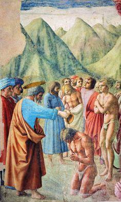 Cappella brancacci, Battesimo dei neofiti (restaurato), Masaccio2 - Капелла Бранкаччи — Википедия. «Крещение Петром неофитов» (Мазаччо)