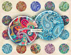 Floral Paisley circles image digital collage by bydigitalpaper