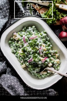 This creamy pea salad is easy to make (using frozen peas!) and it's full of flavour. It's a delicious side dish recipe for all seasons and sure to be your new favourite salad. Frozen Vegetable Recipes, Veggie Recipes, Asian Recipes, Vegetarian Recipes, Chef Recipes, Pea Salad Recipes, Healthy Salad Recipes, Creamy Peas, Frozen Peas