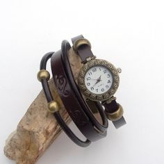Leather Watch bracelet for women, Bronze wrist watch, Oxhide Band Watch, Cowhide