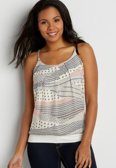 knit tank with geometric print chiffon front (original price, $26.00) available at #Maurices