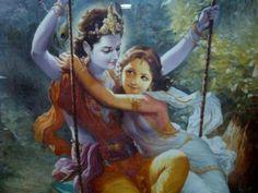 Radha & Krishna on a swing
