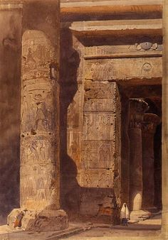 """""""An Entranceway at Karnak, Egypt"""" -   this has been attributed to Carl Friedrich Heinrich Werner (inscribed at lower centre in pen and black ink, David Roberts. R.A. 1864)."""