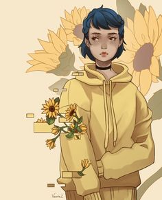 This looks like coraline 💙💛🖤 Character Inspiration, Character Art, Character Design, Character Concept, Pretty Art, Cute Art, Arte Copic, Evvi Art, Character Illustration