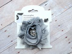 Gray Shabby Chic Hair Clip with Rhinestone Center by Stitched4Ewe, $5.50