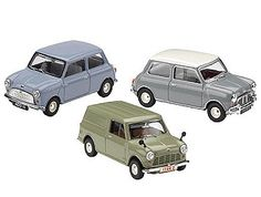 This Mini 50th Anniversary 3 Car Set Diecast Model Car is various colours and features working wheels. It is made by Corgi and is 1:43 scale (approx. 7cm / 2.8in long).    In forty-one years of production 5,378,776 Minis were produced in Britain and this set represents the beginning of that story, bringing together the first production Austin Se7en saloon, Austin Se7en van and Morris Mini Cooper. Historians at the British Motor Industry Heritage Trust have researched the specifications so…