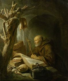 Gerrit Dou Leiden before Hermit Praying. Signed on the book lower left: GDOV. x 29 cm. Estimate CHF 400 000 (€ 333 Sold for CHF. Gerrit Dou, Rembrandt Paintings, Baroque Art, Dutch Golden Age, Art Addiction, Amazing Paintings, Dutch Painters, Madonna And Child, Sacred Art