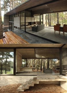 Concrete Cher House by BAK Architects Minimal House Design, Casas Containers, Unusual Homes, Shed Homes, Tiny House Cabin, Forest House, Dream House Exterior, Villa Design, Glass House