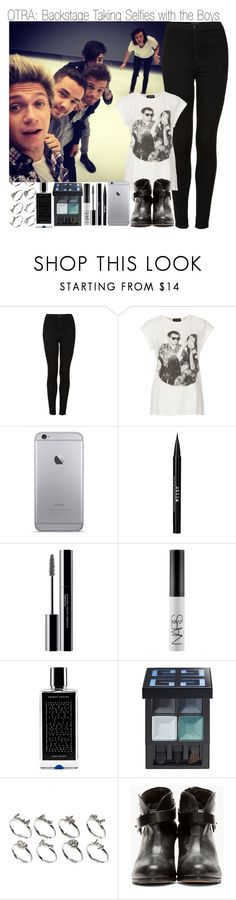 """""""OTRA: Backstage Taking Selfies with the Boys & TMI Tag"""" by elise-22 ❤ liked on Polyvore featuring Topshop, Stila, shu uemura, NARS Cosmetics, Agonist, Givenchy, ASOS, rag & bone and bedroom"""