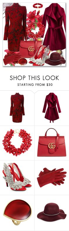 """BALMAIN RED BLACK FLOWER INTARSIA WOOL DRESS"" by metrogold ❤ liked on Polyvore featuring Balmain, Kenneth Jay Lane, Gucci, Balenciaga, Ippolita, San Diego Hat Co. and Bourbon and Boweties"